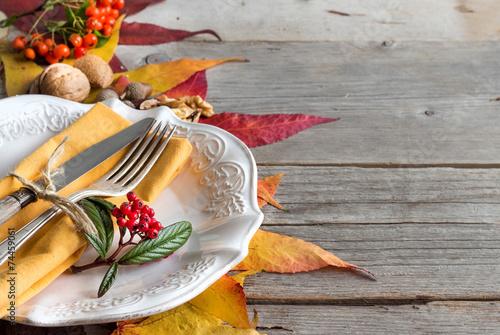 Autumn table setting - 74459061