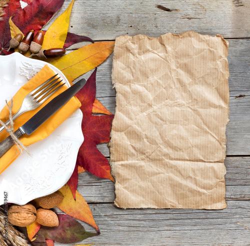 Papiers peints Table preparee Autumn table setting