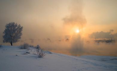 Sunset at the river Angara in Irkutsk