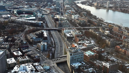 Aerial of the city of Boston, Massachusetts with Fenway in backg