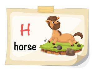 animal alphabet letter H for horse illustration vector