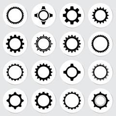 Gear sticker icon set vector illustration