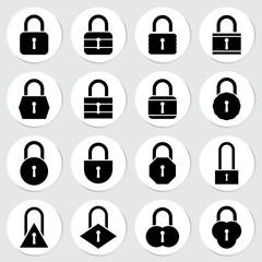 Lock sticker icon set vector illustration