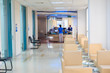 hospital indoor hallway and waiting seats - 74460871