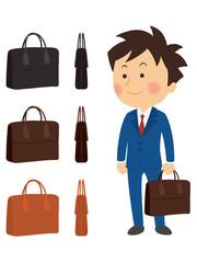 サラリーマンとビジネスバッグ