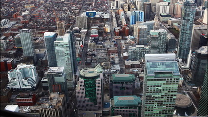 A timelapse aerial view of Toronto, Canada buildings