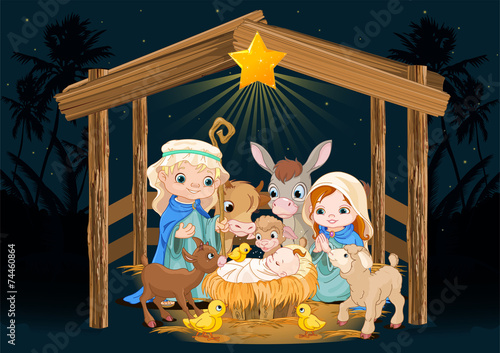 Holy Family at Christmas night - 74460864