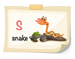 animal alphabet letter S for snake illustration vector