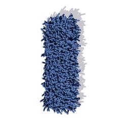 I lettera tappeto blu 3d, isolata su sfondo bianco