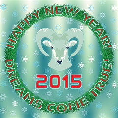 2015 New Year  greetings with bighorn sheep2