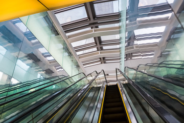 escalator in a modern building