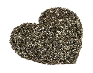 Macro perspective of natural chia seeds in heart shape