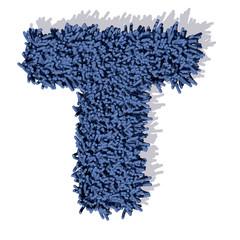 T lettera tappeto blu 3d, isolata su sfondo bianco