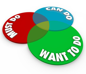 Must Can Want to Do Venn Diagram Priority Task Job Work Project