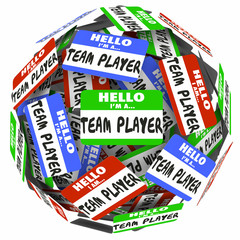 Hello I Am a Team Player Name Tag Stickers Sphere Working Togeth