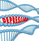 Depression Disease Mental Illness Word DNA Strand Hereditary Gen poster