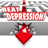 Beat Depression Words Maze Arrow Overcome Mental Illness Disease poster