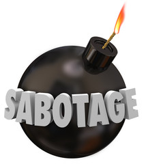 Sabotage 3d Word Bomb Terrorism Undermine Disrupt Destruction