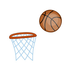 basketball hoop and ball isolated illustration