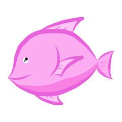 pink fish isolated illustration