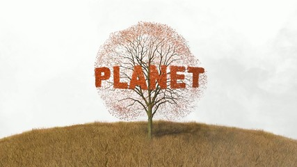 planet text on a tree