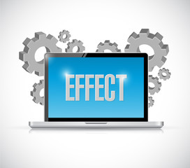 computer with effect sign illustration
