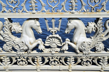 Grate of the Blagoveshchensky bridge in St-Petersburg, Russia