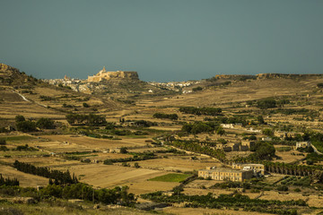 Panoramic view of Gozo with the Citadel in the distance
