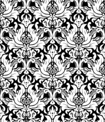Vector. Seamless monochrome damask vintage pattern.