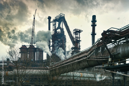 Industrial plant with smoke stacks, industrial area - 74463445