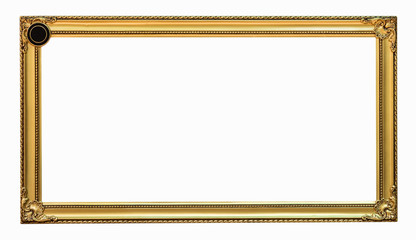gold picture frame. Isolated on white background, clipping path.