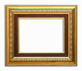 golden frame picture on white background with clipping path