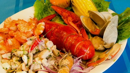 Assorted seafood plate including lobster