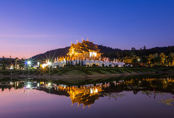 Traditional chiang mai, thai architecture in the Lanna style , R