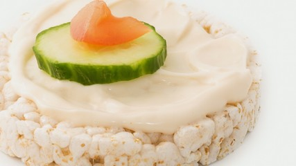 Low calorie rice cake with a mayonnaise