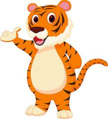 Cute tiger cartoon presenting