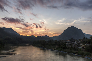 Ou River at sunset in Nong Khiaw, Laos