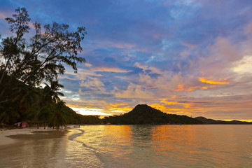 Tropical beach Cote d'Or at sunset - Seychelles