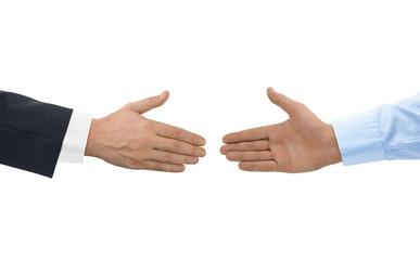 Two hands before handshake