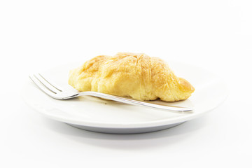 Croissant gold texture serve with fork