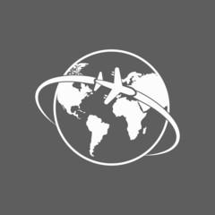 plane around the world icon