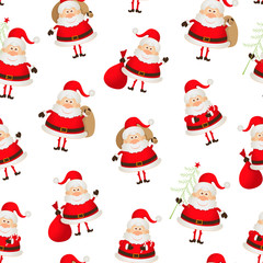 seamless pattern set of Santa Clauses