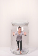 woman in glass