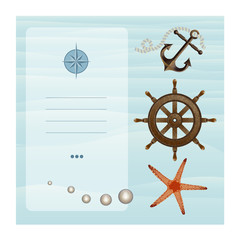 Sea, card, icons.