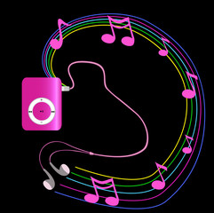 Real pink mp3 player with headphones on black background.  Vecto