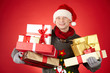 Santa man with giftboxes