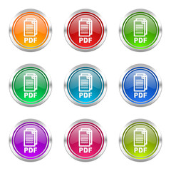 pdf colorful vector icons set