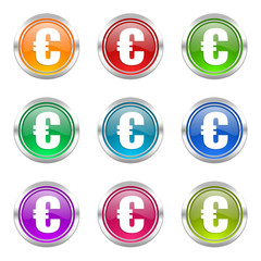 euro colorful vector icons set