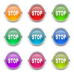 stop colorful vector icons set