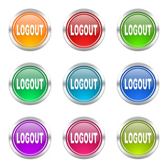 logout colorful vector icons set